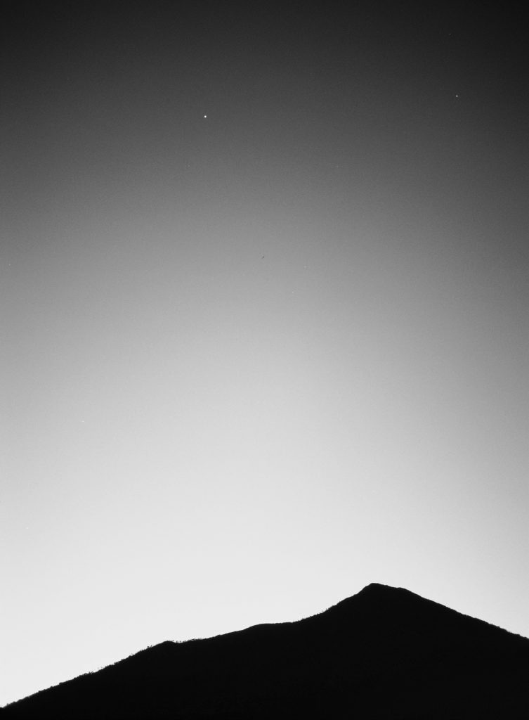 日光 男体山 夜明け前 薄明 木星
