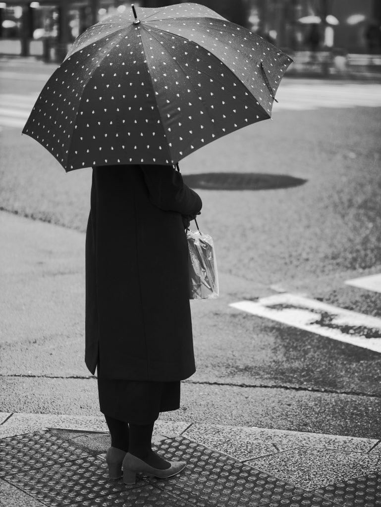 金座 女性 傘 雨 雨傘