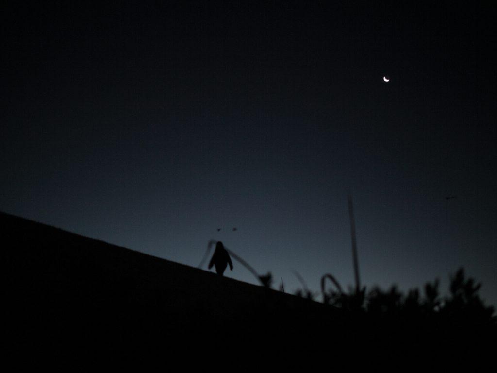 薄明 夜明け前 人物 シルエット dawn